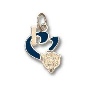 Chicago Bears 1/2 I Heart Bear Head Enamel Charm   Gold