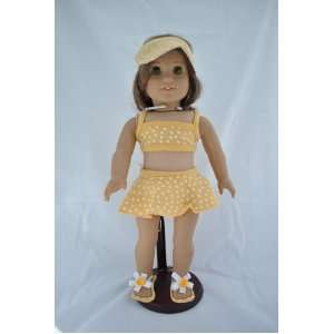 Yellow Polka Dot Bikini for American Girl Dolls and Most