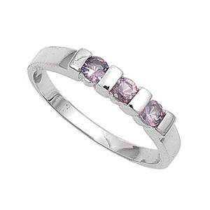 Sterling Silver Womens Kid Baby ring size 4 Purple CZ