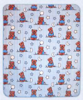 Teddy Bear PERSONALIZED Fleece Baby Blanket, moon stars