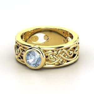 Alhambra Ring, Round Aquamarine 14K Yellow Gold Ring Jewelry