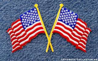 CROSSED AMERICAN FLAGS   EMBROIDERED IRON ON PATCH NEW