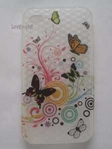 TRANSPARENT WHITE SILICONE RUBBER CASE COVER SKIN BUTTERFLY