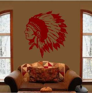 Indian Chief Native American Feather Wall Art Decal Decals Stickers