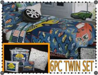 TEEN BOYS 6PC TWIN QUILT BEDDING SET VINTAGE CAR BOY ZONE Authentic