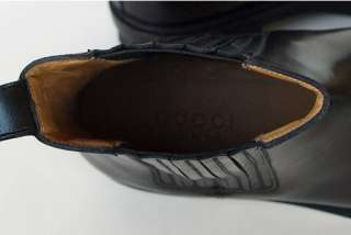 GUCCI New Mens Black Logo Ankle Shoes Boots sz 6.5   7