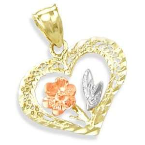 14K YELLOW WHITE n ROSE GOLD FLOWER HEART CHARM PENDANT