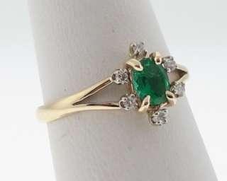 Estate Natural Emerald Diamonds Solid 14k Gold Ring
