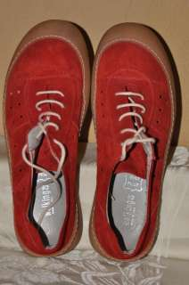 Walking Co Red Suede leather sport shoes,Made in ITALY,Pelle Vera