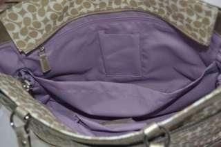 NEW COACH SIGNATURE STRIPE MULTI DIAPER TOTE BABY PURSE BAG TRAVEL