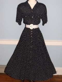 80s 50s NAVY & WHITE FULL SKIRT SHIRTDRESS LUCY ROCKABILLY SWING PINUP