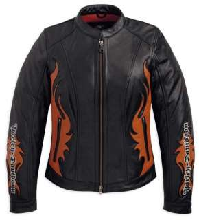 Harley Davidson Womens Wild Flames Leather Jacket (97081 12VW)