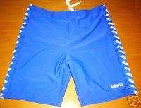 Arena Royal Blue White Logo Swim Jammer Shorts 32 34 38