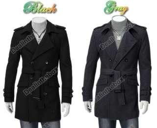 Mens Korea Slim Classic Double Breasted Wool Coat Jacket M L XL XXL