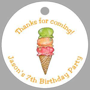 ICE CREAM CONE * 20 Personalized Favor Tags * BIRTHDAY