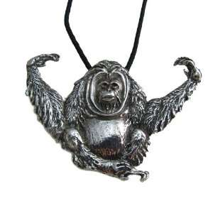 Orangutan Pewter Pendant on Corded Necklace, Endangered Species