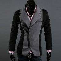 2011 Mens Spring Fashion Korean Irregular Zipper Slim Suit Black 3184