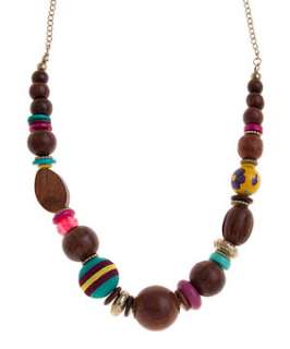 null (Multi Col) Painted Wood Bead Rope Necklace  250099599  New