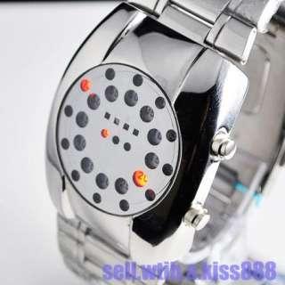 2012 New Type Flash Red LED Dot Matrix Round Dial Mens Wrist Watch