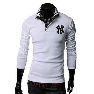 yangjie Mens Premium NY Embroidered Slim Stylish Long Sleeves Polo