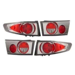 03 05 Honda Accord Sedan Red/Chrome Tail Lights