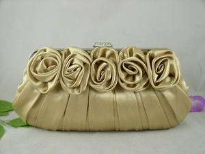 Fabulous Gold Satin Roses Pleated Wedding Clutch Rhinestones