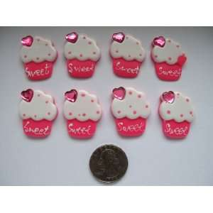 Resin Cabochon Flat Back Hot Pink Cupcake/ Rhinestone for Cellphones