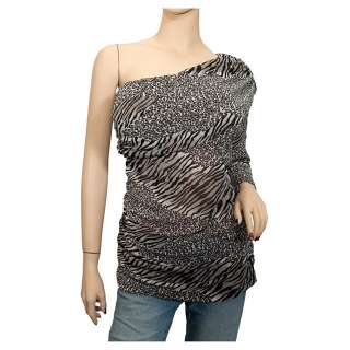 Plus size Animal Print One Shoulder Chiffon Top Black