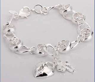 H123 FASHION SILVER PLATED HEART&KEY&Crystal BRACELET