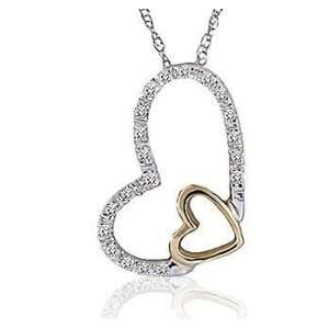 Diamond Pave 14k White Gold Double Heart Pendant Necklace Jewelry