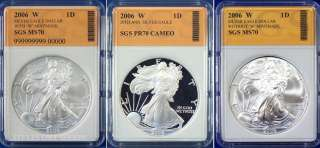 2006 W 3 Coin Eagle Set with Proof & W with mint mark