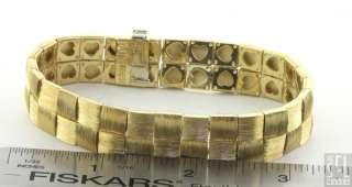 HENRY DUNAY HEAVY 18K GOLD WIDE ELEGANT FANCY FLORENTINE FINISHED LINK