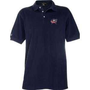 Blue Jackets Navy Classic Pique Stainguard Polo Shirt Sports
