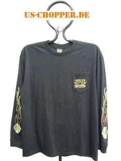 Original Harley Davidson Flames T Shirt Shirt Langarm