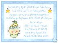 SO CUTE BABY BOY 1ST FIRST BIRTHDAY PARTY INVITATIONS