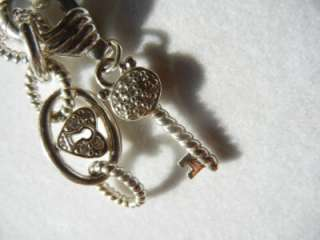 STERLING SILVER KEY TO MY HEART CHARM NECKLACE and ENHANCER