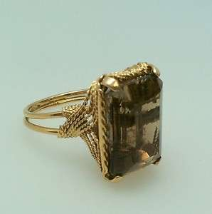 VINTAGE ESTATE 14K YELLOW GOLD RING SMOKEY TOPAZ