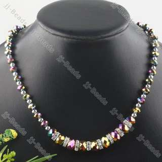 Crystal Glass Rondelle Bead Necklace Faceted Jewelry 1Strand