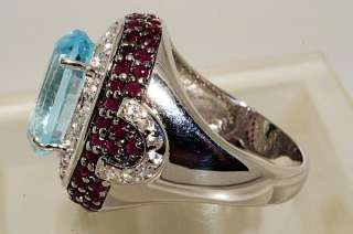 500 13.72CT OVAL CUT BLUE TOPAZ,RUBY & WHITE TOPAZ RING SIZE 8