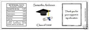 100 Personalized Graduation Water Bottle Favor Labels