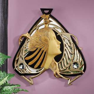 13.5 Classic Art Nouveau Peacock Lady Mirrored Wall Sculpture Statue