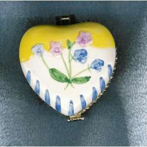 Blue & Yellow Ceramic Heart Shaped Trinket Box