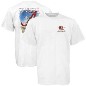 NCAA Alabama Crimson Tide White Fish Team Bass T shirt