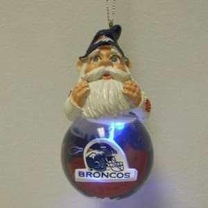 Denver Broncos Light Up Snow Globe Gnome Ornament