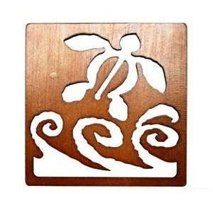 Wood Laser Cut Coaster Honu or Turtle & Waves: Kitchen & Dining
