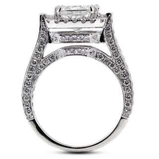 carat Ideal Cut D VS2 Princess Diamond 18k White Gold Sidestone Ring