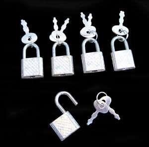 50) Small Metal Padlock Mini Craft Box Toy Lock w/ Key
