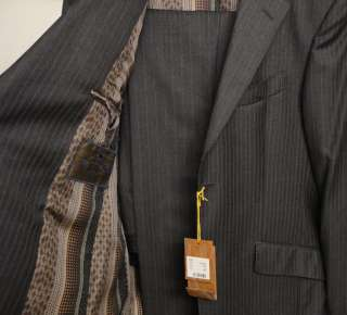 New ETRO suit 36 NWT $1400 wool silk power stripes dark gray garment