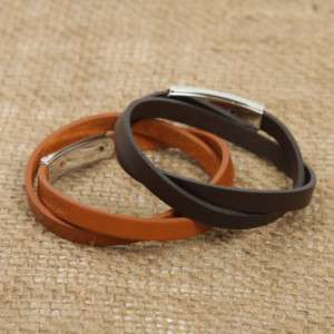 STYLISH real LEATHER COOL CUFF mens womens BRACELET