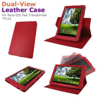 Dual View Leather Folio Case Stand Cover for Asus EEE Pad TF101 Tablet